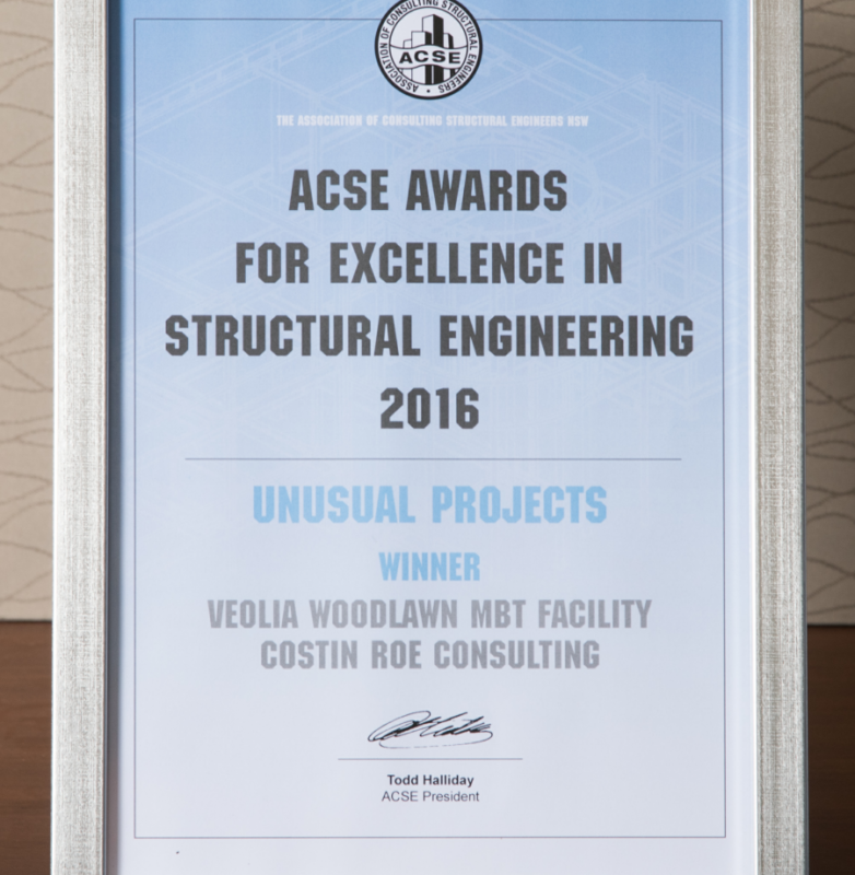 ACSE NSW award for 'Excellence in Structural Engineering' in the category 'Unusual Projects' 2016 won by Costin Roe Consulting for the Veolia Woodlawn MBT facility, announced in Sydney on Thursday 23 March 2017