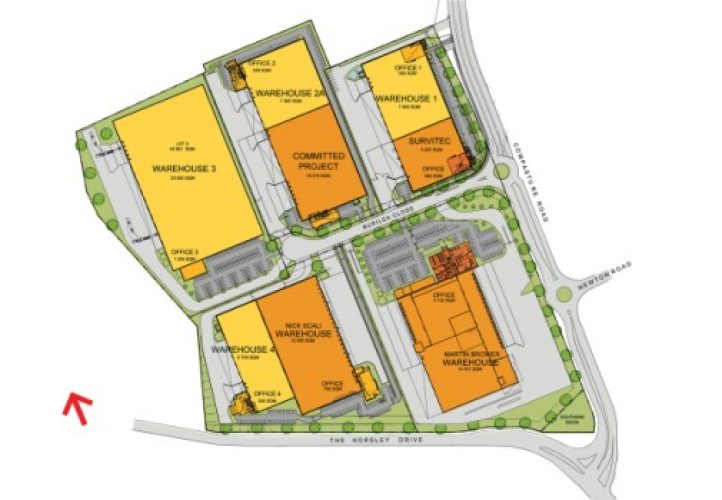 Horsley Drive Business Park, site plan